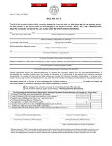 Motor Vehicle Bill Of Sale Template Pdf by Motor Vehicle Bill Of Sale Form T 7 Eforms