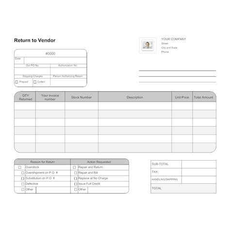 return to vendor form template return to vendor form