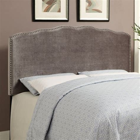 Silver Padded Headboard by Pri Velvet Upholstered Nailhead Headboard In Silver