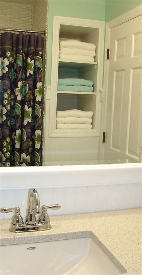 Bathroom Lining Walls Linen Insert Next To Shower Tub With Beadboard Walls