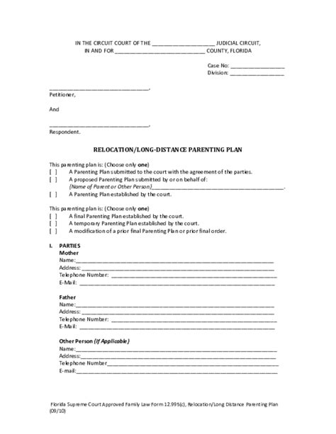 long distance parenting plan template image collections