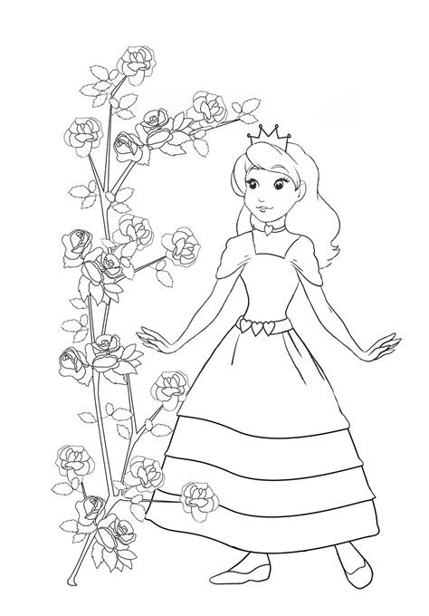 princess rose coloring page princess coloring pages