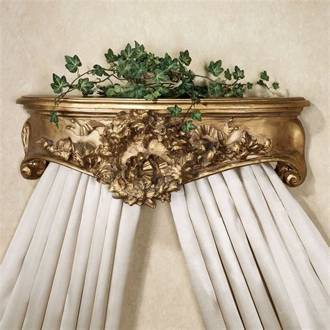 bed crowns floral wreath aged gold wall teester bed crown