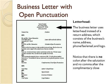 Block Style Business Letter With Open Punctuation objective 4 04 apply correct letter formats ppt