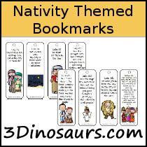 printable nativity bookmarks 3 dinosaurs bookmarks printables