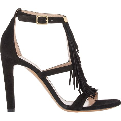 black fringe sandals chlo 233 suede fringe trim sandals in black lyst