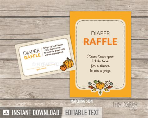 free printable halloween raffle tickets little pumpkin baby shower printable diaper raffle tickets