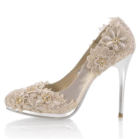high heel closed toes lace crystral chagne wedding