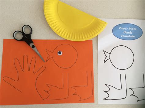 Duck Paper Craft - easy paper plate duck craft school
