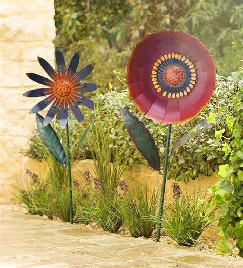 Large Metal Flower Garden Stake In Garden Stakes Metal Flower Garden Stakes