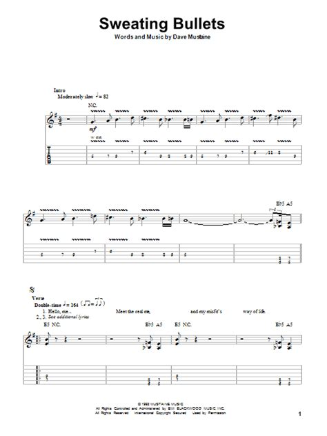 how to play bullet for my on guitar sweating bullets sheet by megadeth guitar tab play