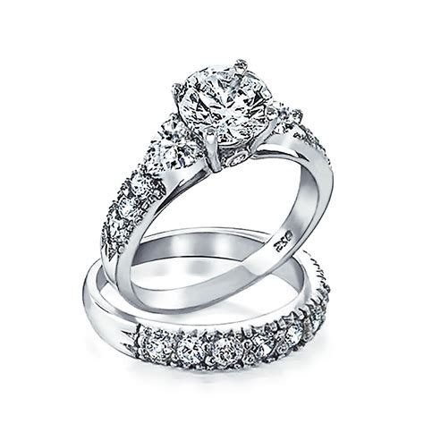 925 silver clear cz side stones wedding engagement