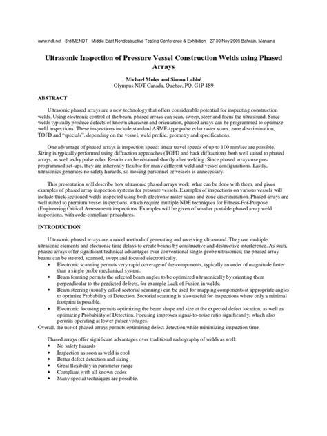 Ultrasonic Inspection of Pressure Vessel Construction
