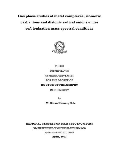 thesis title thesis title gas phase studies of metal complexes