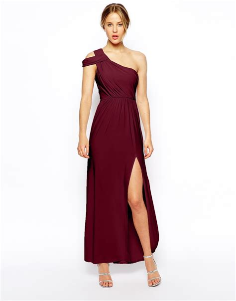 drape dress with one shoulder asos one shoulder drape maxi dress in red lyst