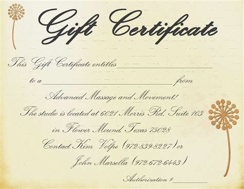 Massage Gift Card Template - printable massage gift certificate template