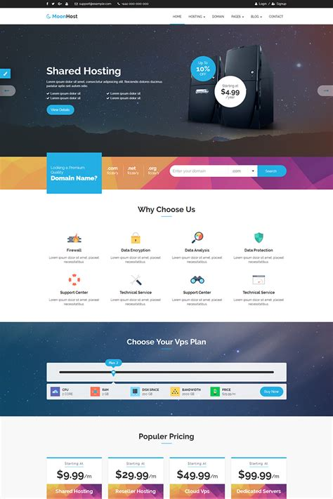 Moonhost Responsive Html5 Web Hosting With Whmcs Website Template 64624 By Themelooks Website Template Design Software