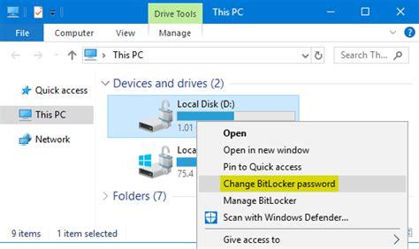 reset windows password bitlocker how to change bitlocker password in windows 10 8 7