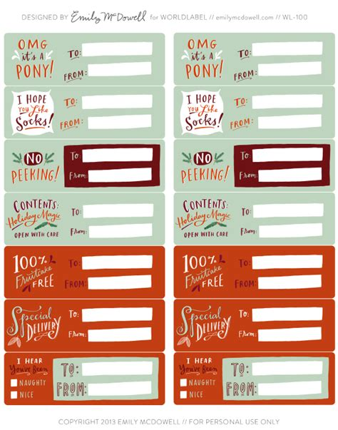 hand illustrated holiday labels by emily mcdowell