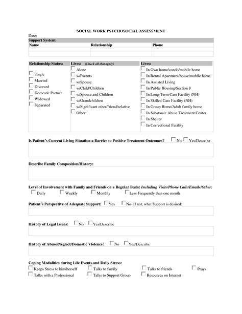 best photos of social work assessment template social
