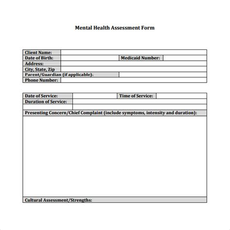 6 Health Assessment Templates Sle Templates Comprehensive Mental Health Assessment Template