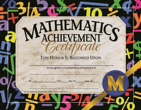 math award template math achievement certificate 8 1 2 x 11 in paper