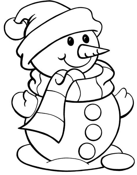 Christmas Color Page Snowman Snowman Wearing Hat Printable Snowman Coloring Pages