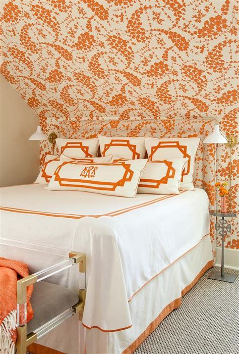 orange and white bedroom orange bedroom with headboard matching wallpaper