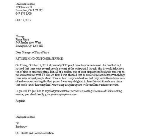 Complaint Letter Exle About A Restaurant Microsoft Word Business Technology