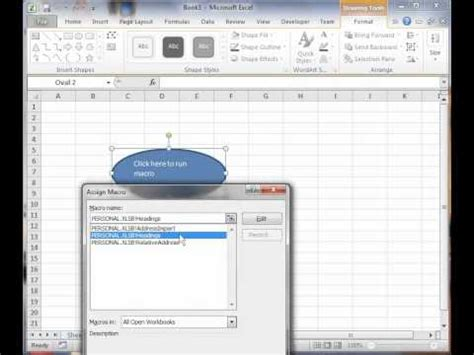 vba tutorial excel 2010 youtube excel 2010 vba tutorial 4 assign a macro to image youtube