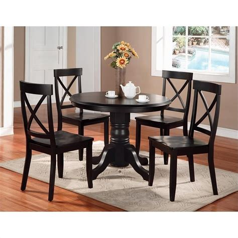 black dining room table set 5 piece black pedestal set 5178 318