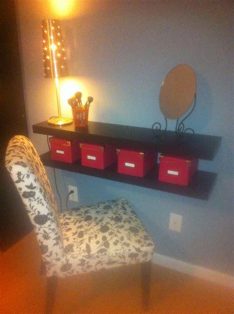 diy makeup vanity   wall mounted shelves ideas