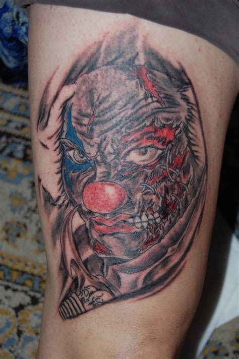 gangster clown tattoos color ink evil clown gangster