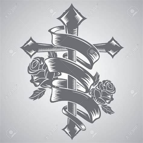 cross ribbon tattoo designs drawings of cross with ribbon around it www pixshark