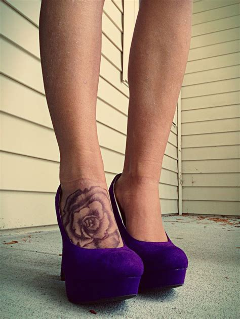 rose on foot tattoo foot ink