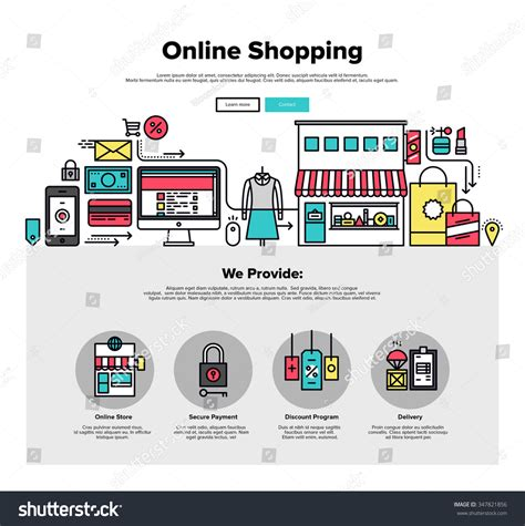 design online marketplace one page web design template thin stock vector 347821856