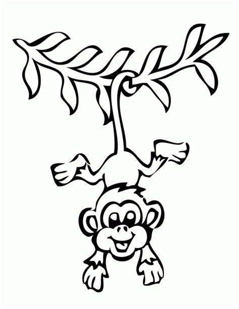 smiling hanging monkey coloring page h m coloring pages