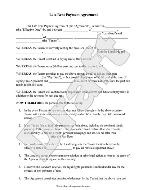 Late Rent Payment Agreement Form With Sle Delinquent Past Due Late Rent Payment Rent Payment Agreement Template