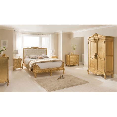 gold bed french gold leaf heavy carved 6ft super king size bed