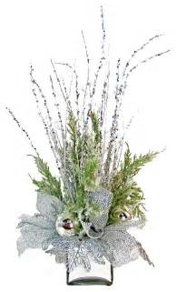 Rectangle Glass Vases Silver Silk Floral Arrangement Eclectic Artificial