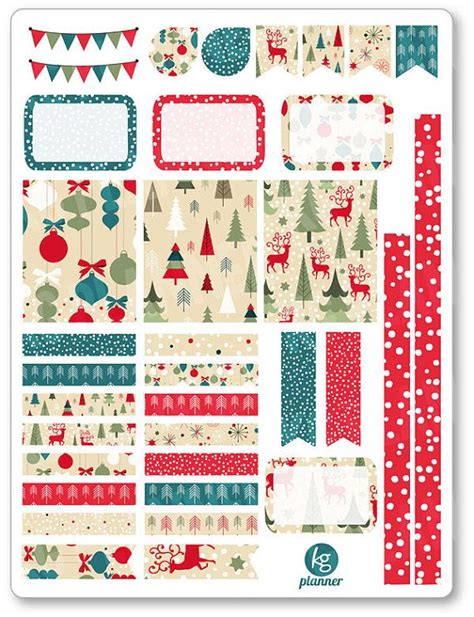 printable planner decorations vintage christmas decorating kit weekly spread planner
