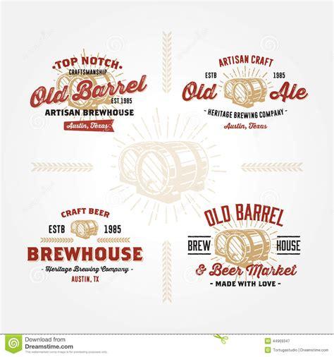 set of retro logo designs with wodden barrels stock vector