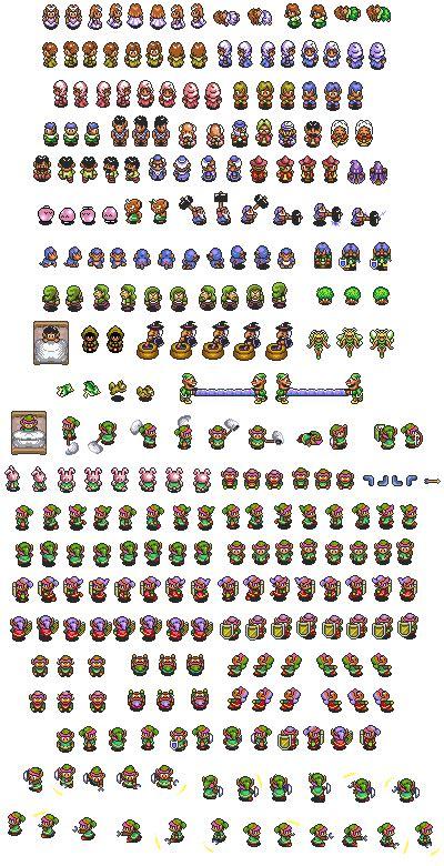 legend of zelda map sprites link to the past sprite sheet dem pixels pinterest