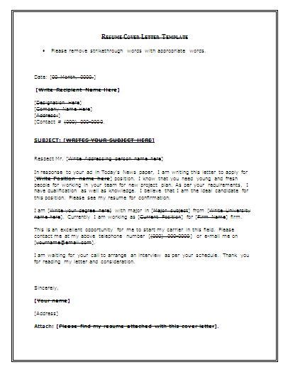 Free Simple Cover Letter Exles by Cover Letter For Resume