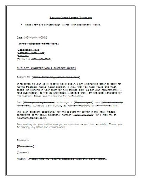 job resume cover letter
