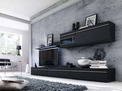 wohnwand schwarz matt wohnwand schrankwand schwarz matt lackiert noires ebay