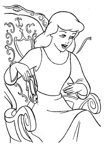 printable version of cinderella cinderella will try her shoe coloring page free