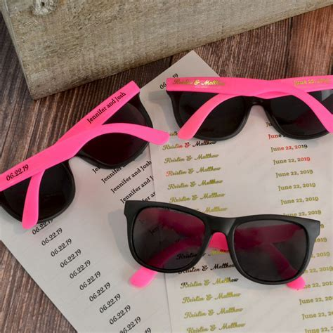 Personalized Pink & Black Frame Sunglasses Favors