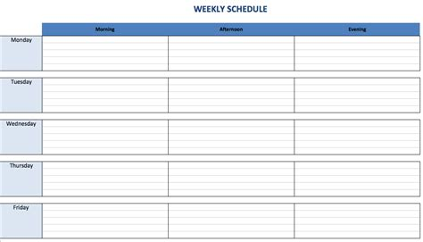 7 day schedule template 7 day week schedule template calendar template 2016