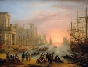 port de mer au soleil couchant le lorrain de paysage